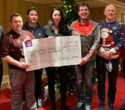 80's V 90's Night cheque presented to KRFC